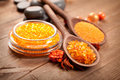 Spa - Orange bath salt Royalty Free Stock Images