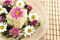 Spa organic soap and flowers Royalty Free Stock Photo