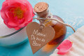 Spa present for Mother's day with essential oil and lettering (i Royalty Free Stock Photo