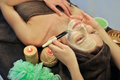 Spa procedure woman relaxing in salon Royalty Free Stock Image