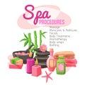 Spa procedures illustration concept with beauty treatment elements set vector Stock Photos
