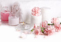 Spa products pink on white Stock Photography