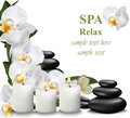 Spa relax card candles and stones Vector illustration