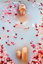 Spa Relax Flower Bath. Woman Health, Beauty Treatment, Body Care Royalty Free Stock Photo