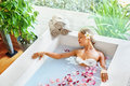 Spa Relax Flower Bath. Woman Health, Beauty Treatment, Body Care Royalty Free Stock Photo