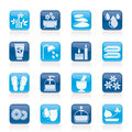 Spa and relax objects icons vector icon set Royalty Free Stock Photos