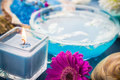 Spa relaxation including candles water salt bath elements and Royalty Free Stock Photography