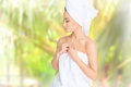 Spa. Relaxed young woman Royalty Free Stock Photo