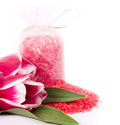 Spa salt and tulips on white background Stock Photography