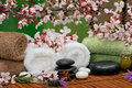 Spa scene with aromatic lavender and towels Royalty Free Stock Image