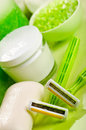 Spa scene with green razors Stock Image
