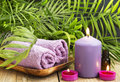 Spa.Scented Candles, Essential Oil and Towels Royalty Free Stock Photo