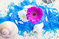 Spa set bath salt flowers with and Stock Image
