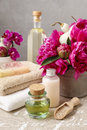 Spa set: bottles of liquid soap and essential oil, soft towels a Royalty Free Stock Photo