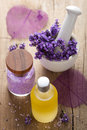 Spa set with fresh lavender Royalty Free Stock Images