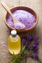 Spa set with fresh lavender Royalty Free Stock Photos