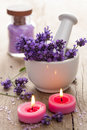 Spa set with lavender flowers Royalty Free Stock Photos