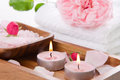 Spa set with pink rose and bath salt decoration for wellness Royalty Free Stock Image