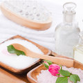 Spa set with rose in pink and white wiht bath salt Royalty Free Stock Photo