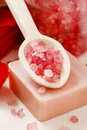 Spa set: scented candle, sea salt, liquid soap and romantic red Royalty Free Stock Photo