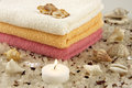 Spa setting with bath towels and salt Royalty Free Stock Photos