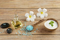 Spa setting concept with oil bottle, blue salt sea in spoon, min Royalty Free Stock Photo