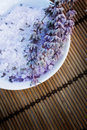Spa setting with lavender bath salt Royalty Free Stock Photo
