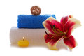 Spa setting with lily flower towels and pink Royalty Free Stock Photo