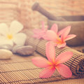 Spa setting low light with ambient in vintage revival tone frangipani hot and cold stone on bamboo mat Royalty Free Stock Photos