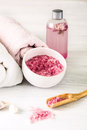 Spa Setting With Pink Roses An...