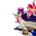 Spa setting in purple tone Royalty Free Stock Photo