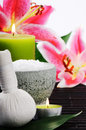 Spa setting with sea salt, herbal ball and lily Royalty Free Stock Photo