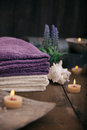 Spa setting and wellness with natural bath salt candles towels and flower wooden dayspa nature set Royalty Free Stock Photo