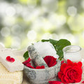 Spa settings with roses rose flowers ans bath accessoriesin a garden Royalty Free Stock Photo
