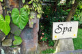 Spa sign board in balinese resort Stock Images