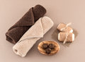 Spa soap luxury towels and coffee bath bombs handmade artisan on burmap on tan background Royalty Free Stock Photography
