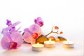 Spa still life with aromatic candles Royalty Free Stock Photo