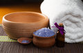 Spa still life with aromatic candles and towel lavender bath salt flower Royalty Free Stock Photography