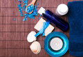 Spa still life with blue accessories Royalty Free Stock Photo