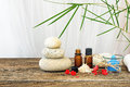 Spa still life with candle,zen stone and essential oil Royalty Free Stock Photo