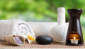 Spa still life with candle and zen stone Royalty Free Stock Photo