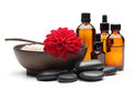 Spa still life massage oil zen stones bowl of salt Royalty Free Stock Photo