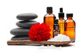 Spa still life massage oil zen stones bowl of salt Stock Photography