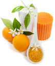 Spa still life with orange blossom candle towel salt on a white background Royalty Free Stock Photo