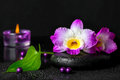 Spa still life of purple orchid dendrobium with dew on black zen stone, green leaf, beads and candles Royalty Free Stock Photo