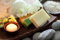Spa still life with soap towel candle and pebble Royalty Free Stock Photos