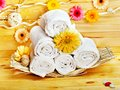 Spa still life  with towel in wood spa. Royalty Free Stock Image