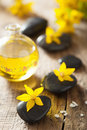 Spa stones essential oil and yellow flowers for spa black Royalty Free Stock Image
