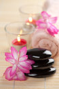 Spa stones and pink flowers over bamboo mat Stock Photos