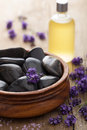 Spa stones salt and lavender oil Royalty Free Stock Images